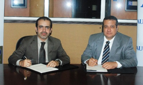 MOU Signing Maged Hanna MD Selem and Alaa Ashmawy Dean Engineering